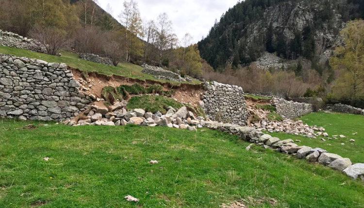 Mur de pedra seca a la Vall del Madriu-Perafita-Claror